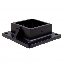 "Floor Flange With Set Screw Holes For 3"" Sq. Aluminum Fence Posts - Deck Mount (Black)"