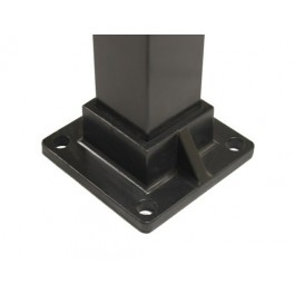 "Floor Flange for 2"" Sq. Aluminum Fence Posts - Deck Mount (Black)"