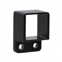 "1 1/4"" x 1 1/4"" Stationary Square Single Flange Wall Mount Bracket For Aluminum Fence - Black"