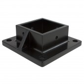 "Floor Flange for 2 1/2"" Sq. Aluminum Fence Posts - Deck Mount (Black)"